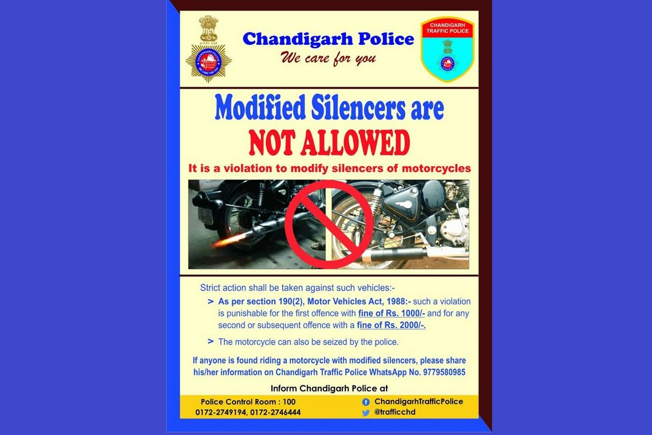 Modified Silencers are not Allowed - Chandigarh Traffic Police