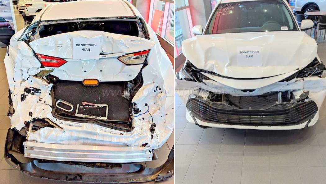 Toyota Dealer Proudly Displays Crashed Camry In Showroom To - Toyota show car
