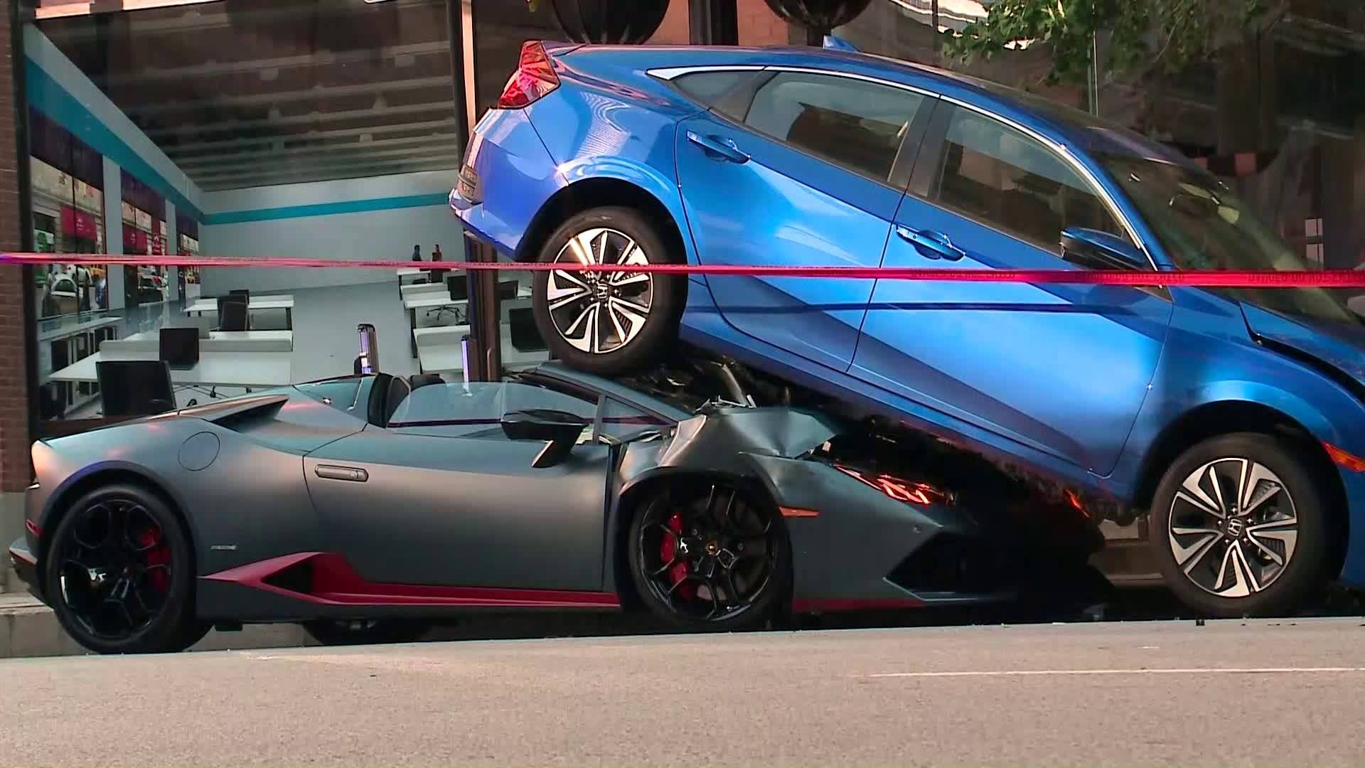 Lamborghini Driver Accidentally Accelerates Ends Up Under A New