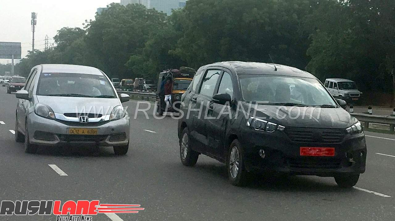 2018 Maruti Ertiga Spied Along With Honda Mobilio 8 Seater Ahead Of