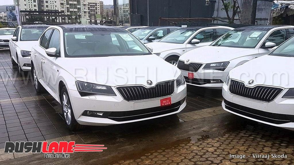 2018 Skoda Superb In Candy White At A Dealership Pune Image For Reference