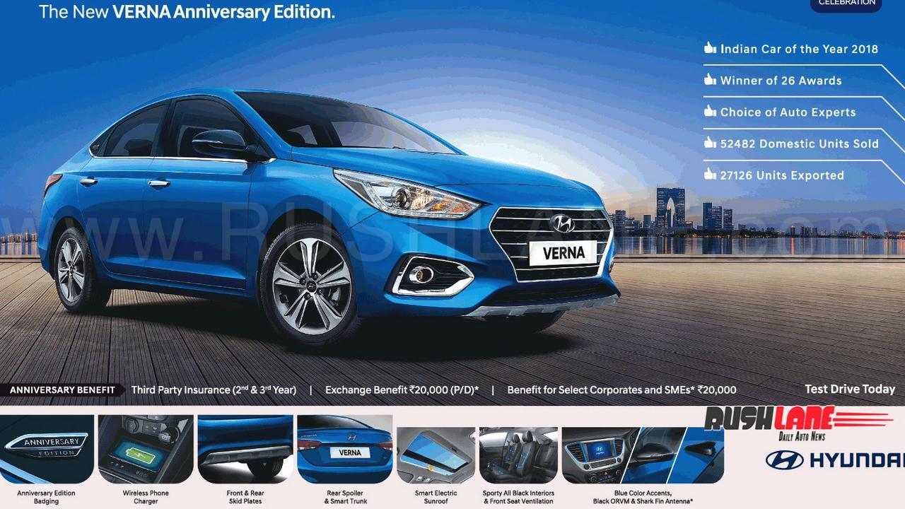 hyundai verna anniversary edition launch price rs  lakhs rivals honda city maruti ciaz