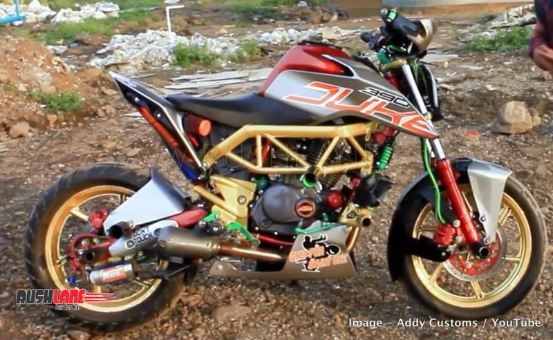 bajaj pulsar 220 owner modifies his bike to look like ktm 390 duke