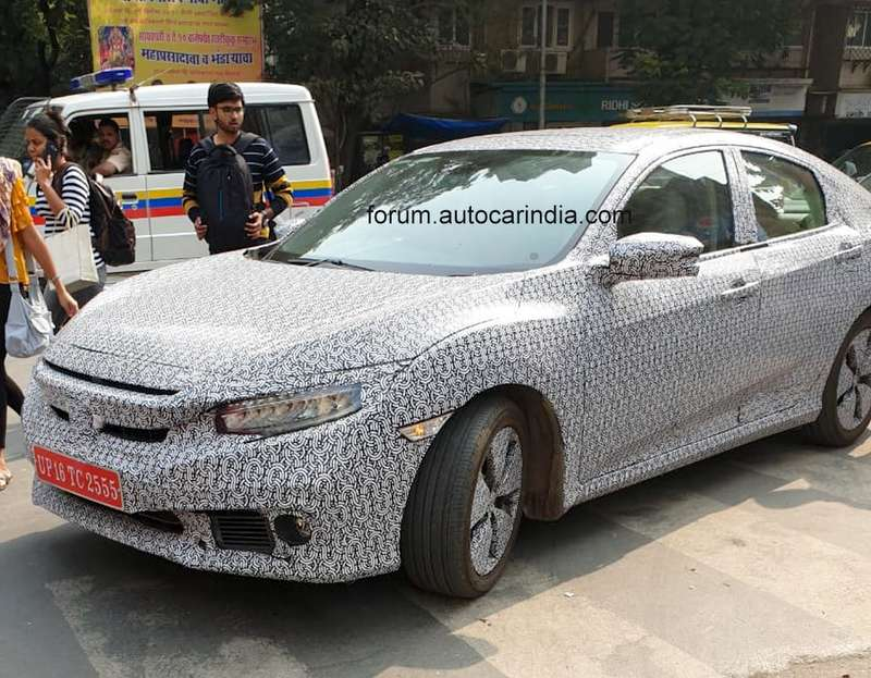 Honda Civic Front And Rear Detailed In New Spy Shots Spied In Mumbai