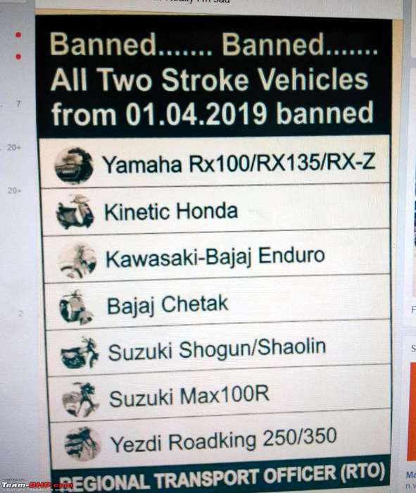 Yamaha RX100, Jawa, Yezdi 2 stroke to be banned from 1st