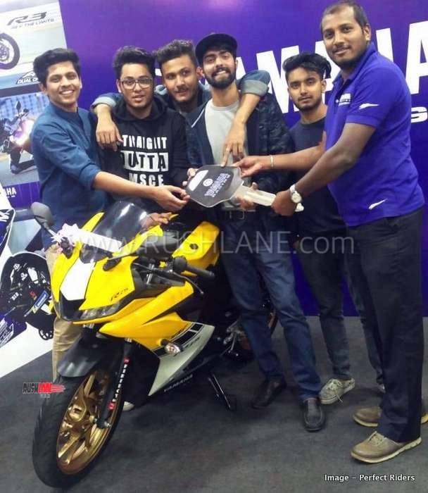 New Yamaha R15 V3 Yellow colour delivered to owner in Bangalore
