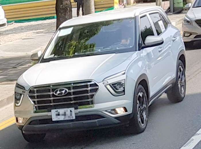 2020 Hyundai Creta White Colour Spied On Road Led Lights Detailed