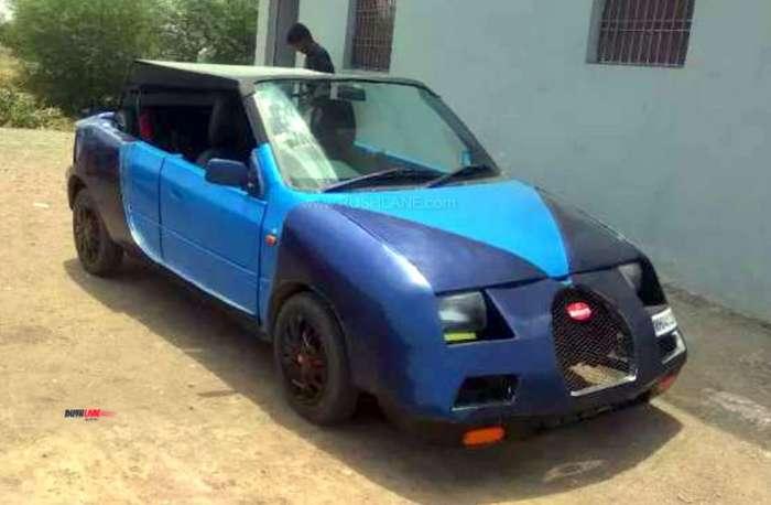 Maruti Zen Owner Modified His Car To Look Like Bugatti Veyron Aims