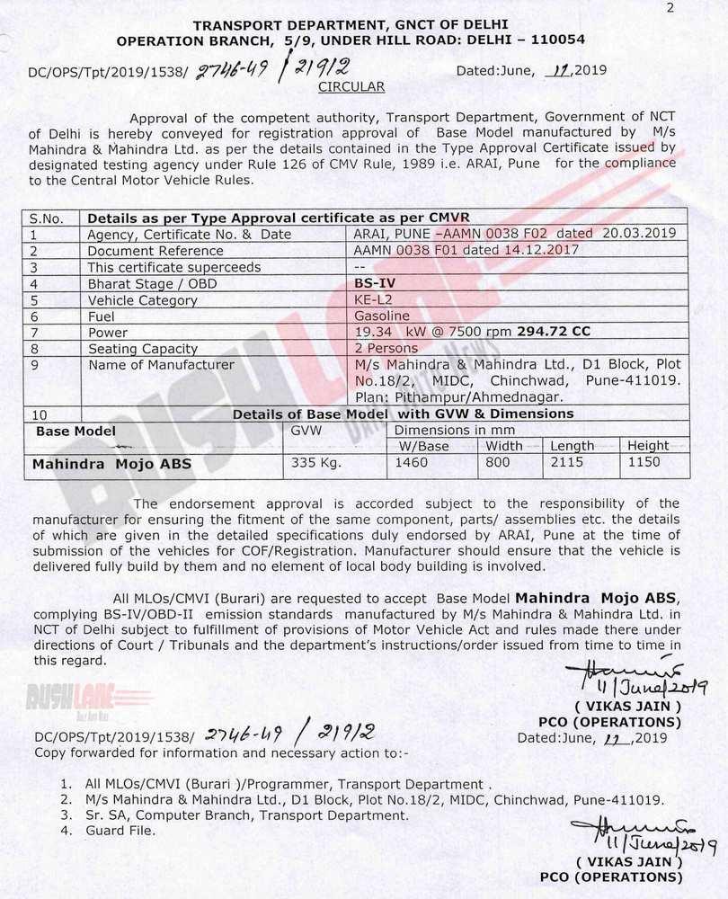 Mahindra Mojo certification