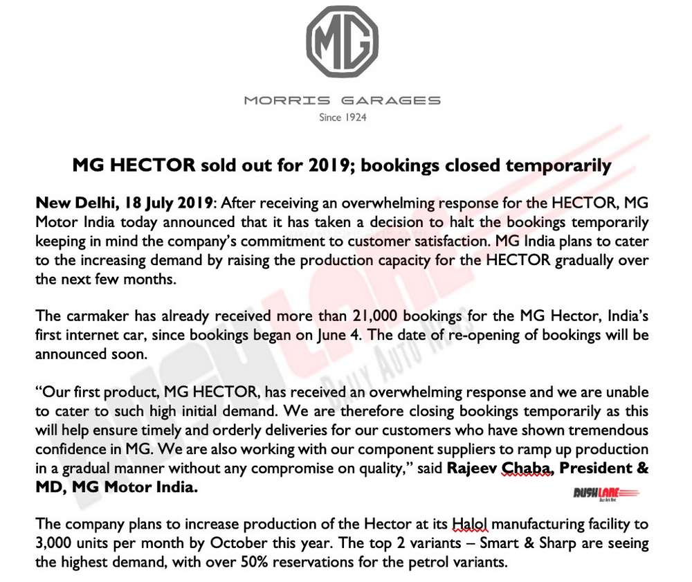 MG India Press Release