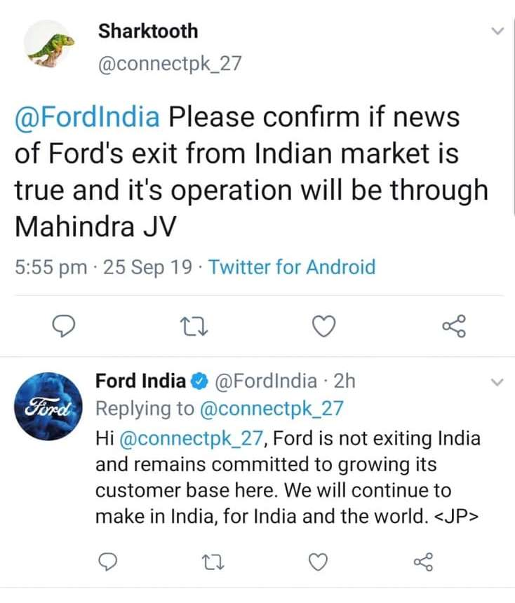 Ford Exit India