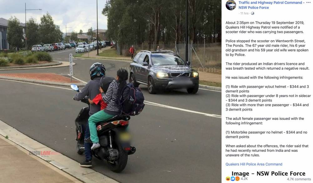 Scooter fined riding triples