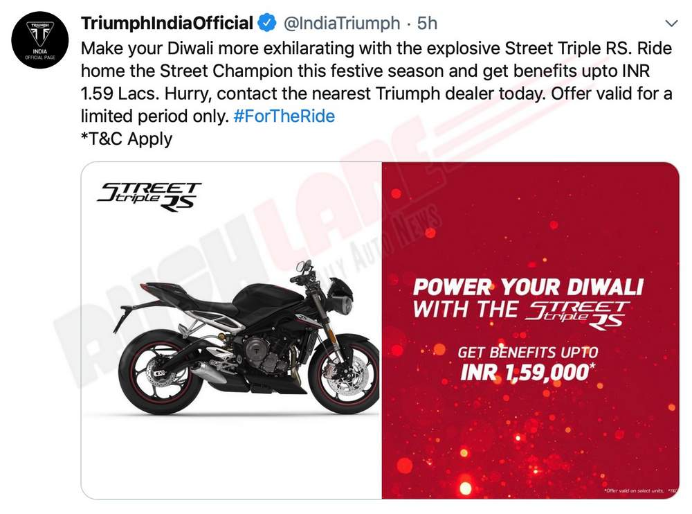 Triumph discount offers Oct 2019