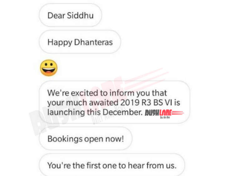 Yamaha R3 BS6 launch Dec 2019