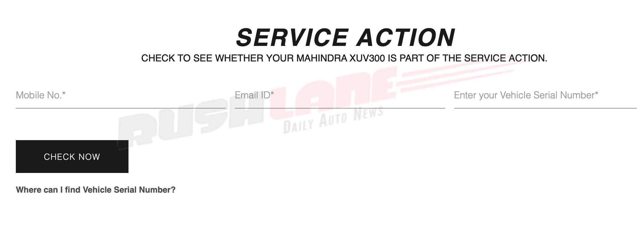 Mahindra XUV300 recall