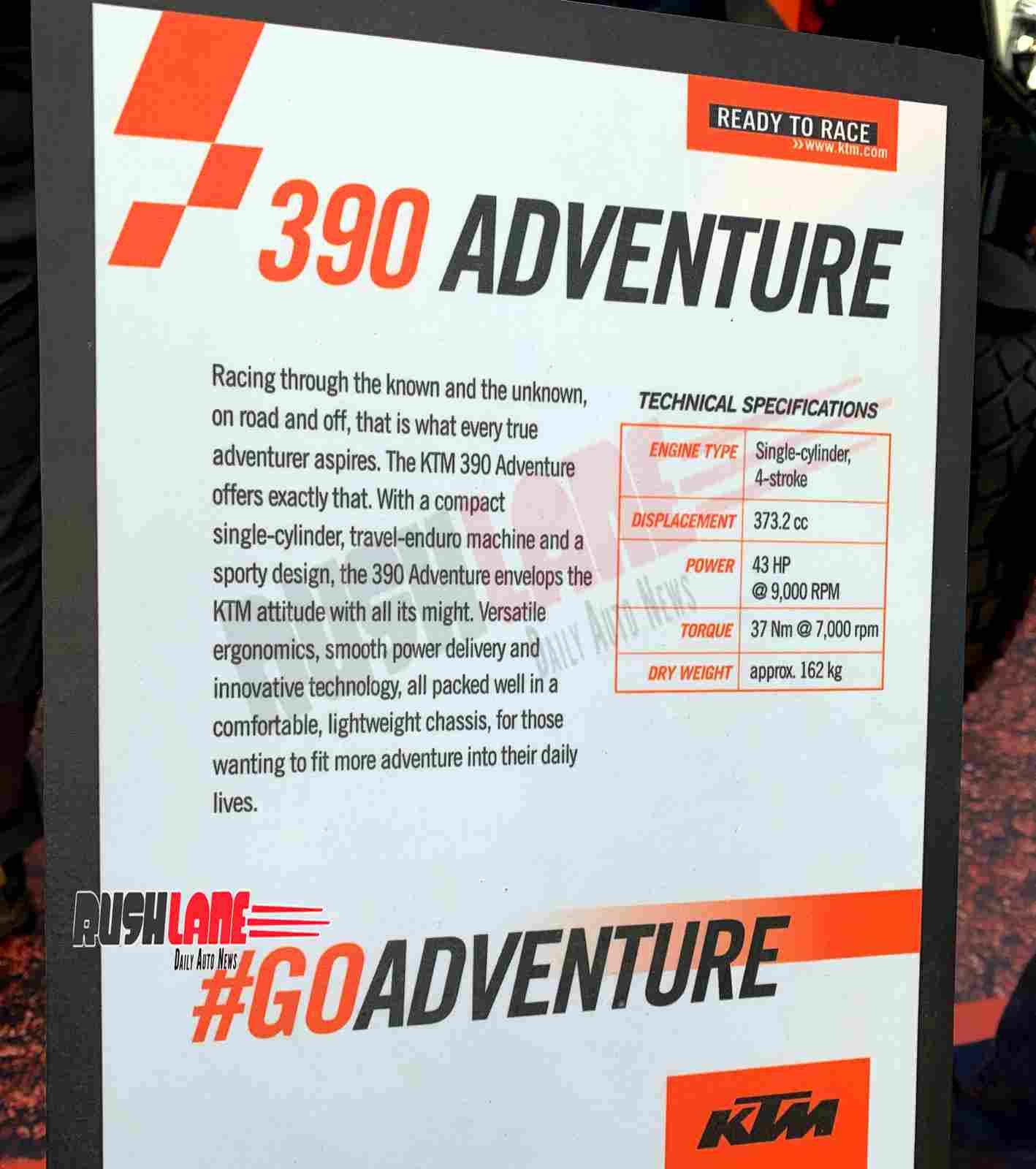 KTM 390 Adventure specs for India