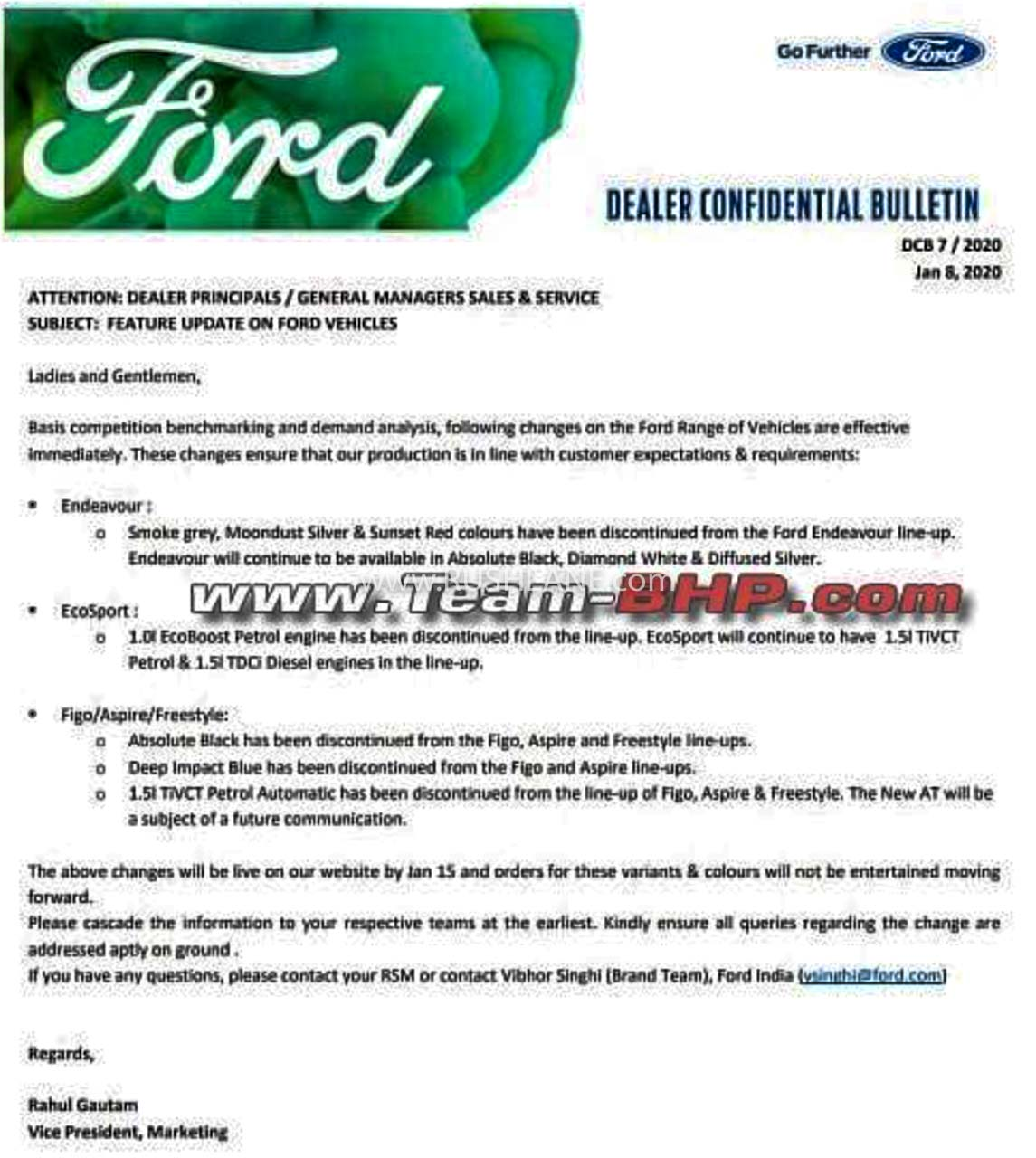 Ford India discontinued