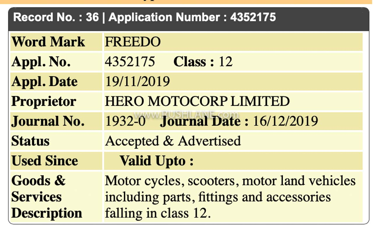 Hero Freedo electric scooter name registered