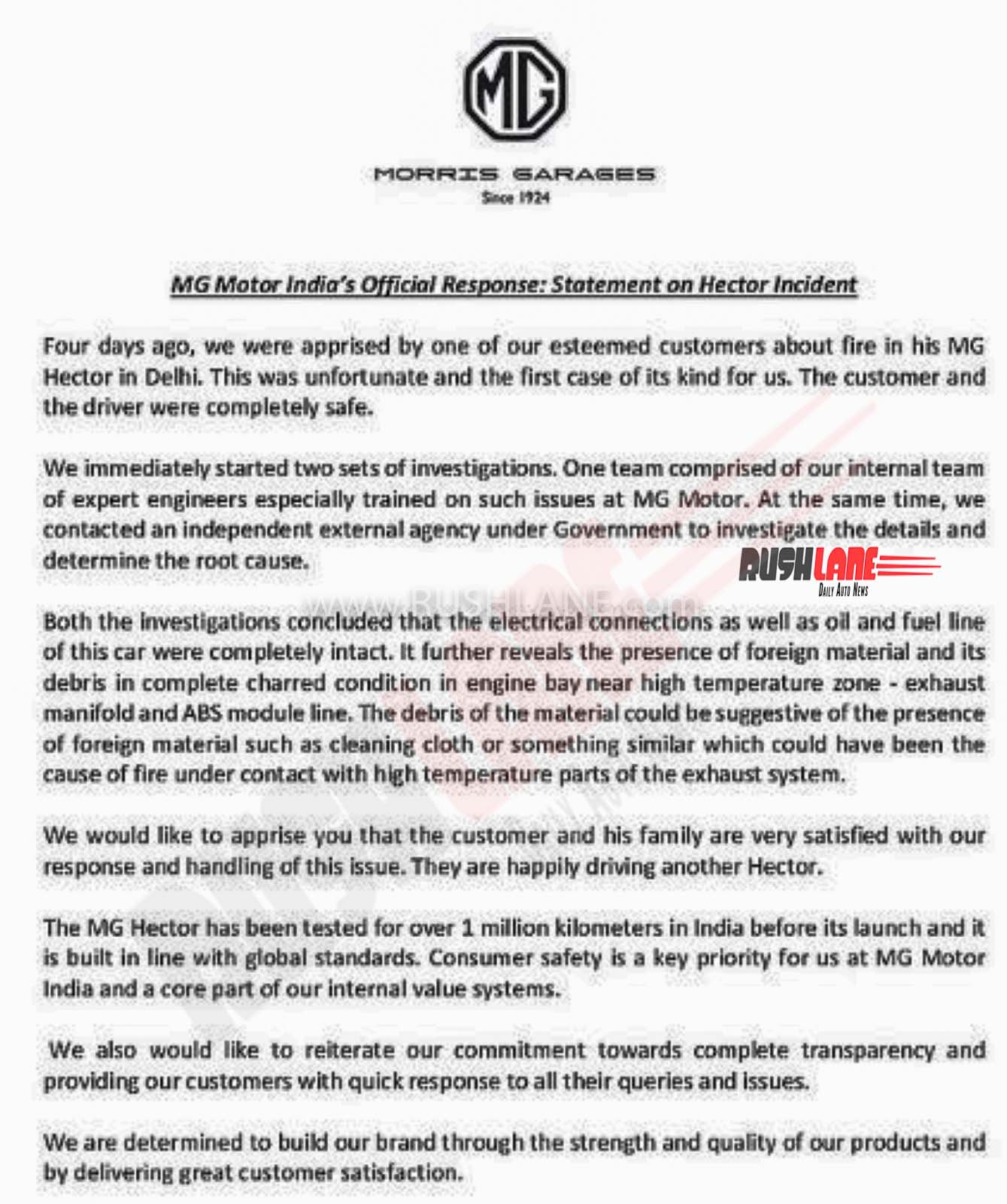 MG India reply on Hector fire incident