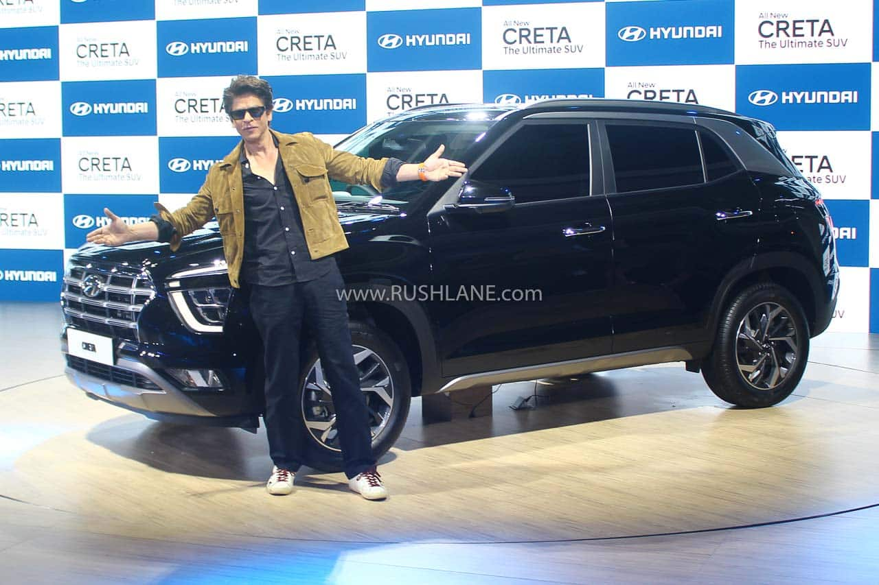 Shah Rukh Khan with the new 2020 Hyundai Creta at Delhi Auto Expo today.