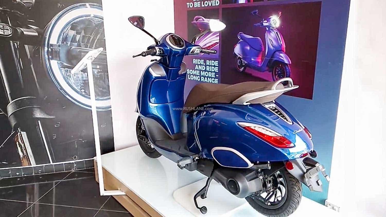 Bajaj Chetak electric scooter at dealership.