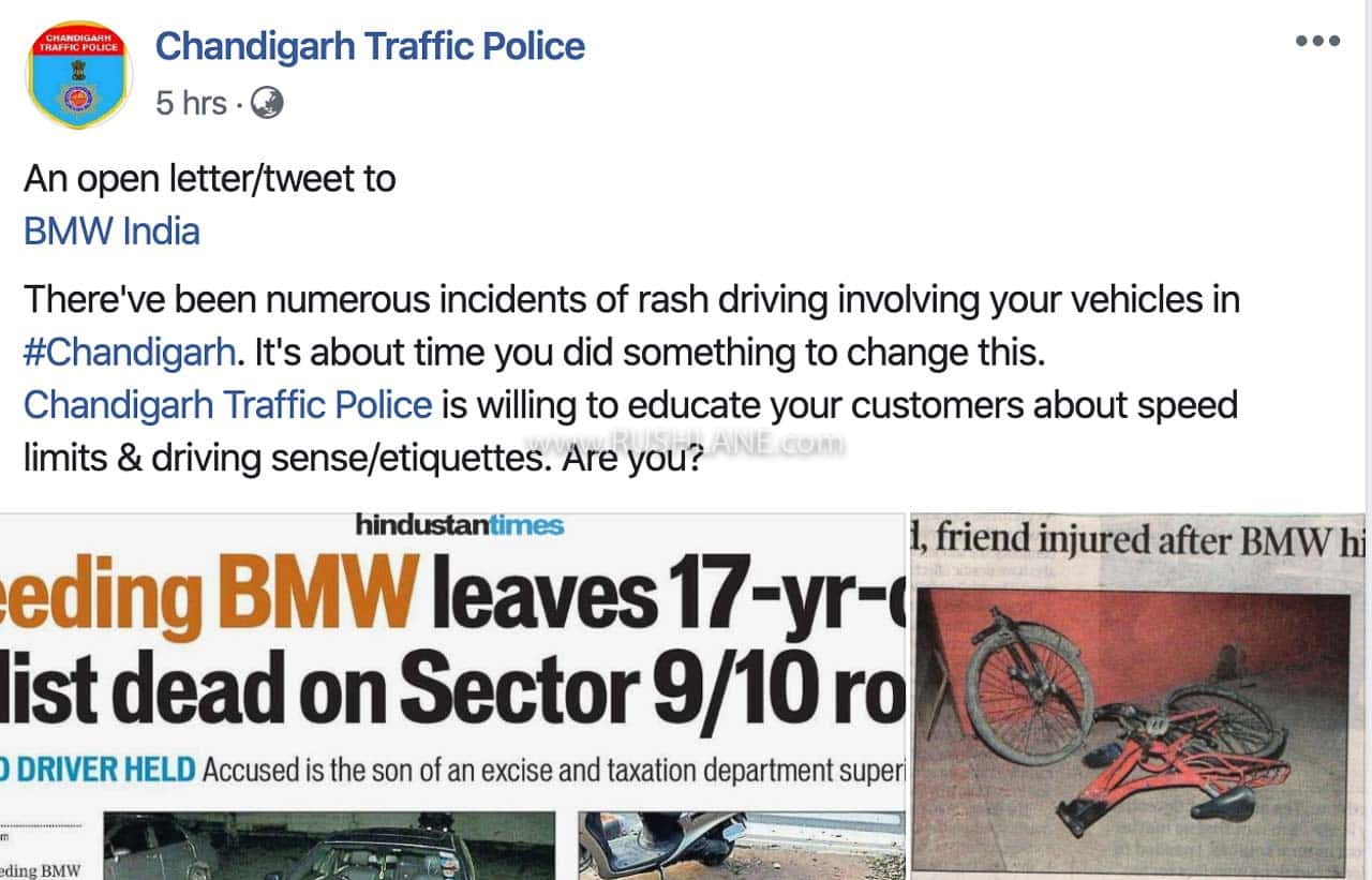 Chandigarh Traffic Police blames BMW India