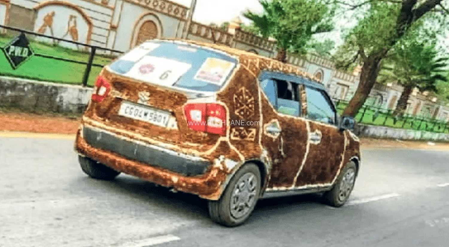 Cow dung wrapped Maruti Ignis