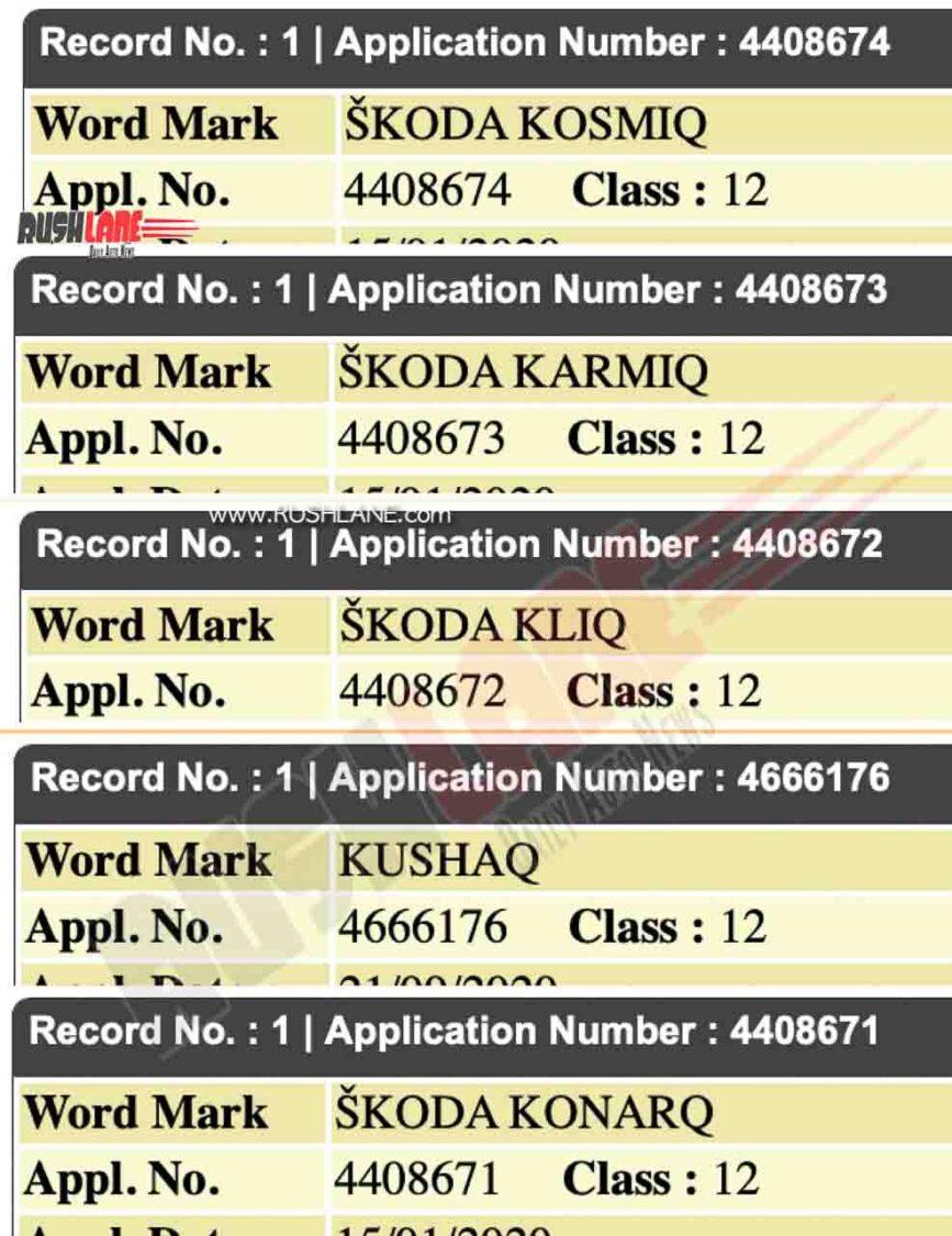 New Skoda Names Registered In India