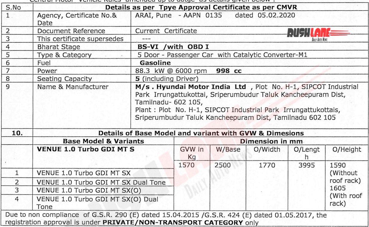 Hyundai Venue BS6 turbo petrol (manual) specs - ARAI certificate