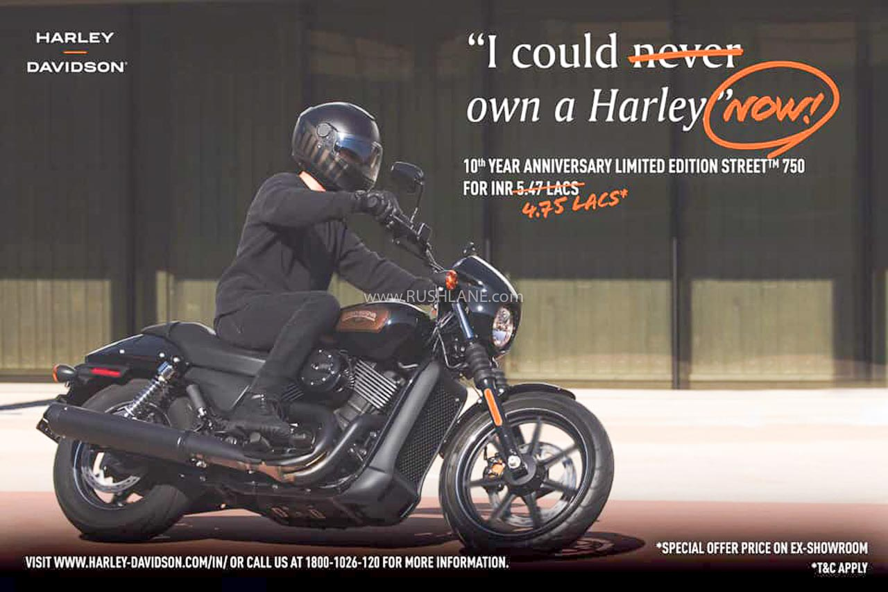 Harley Street 750 and Street Rod at Rs 72k discount – May 2020