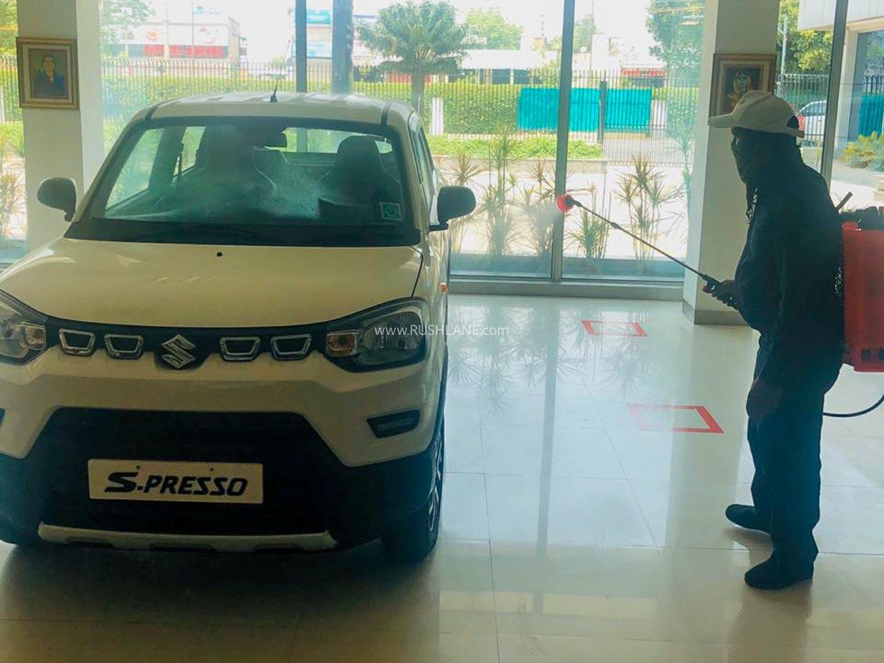 Maruti cars getting sanitized