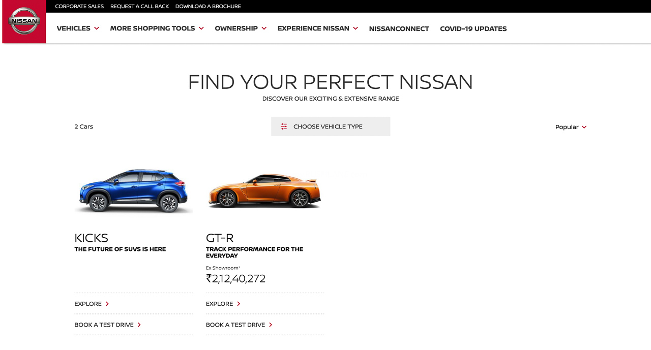 Nissan India website