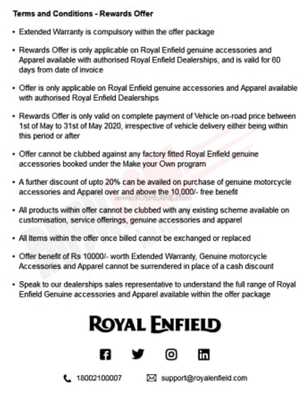 Royal Enfield Free accessories