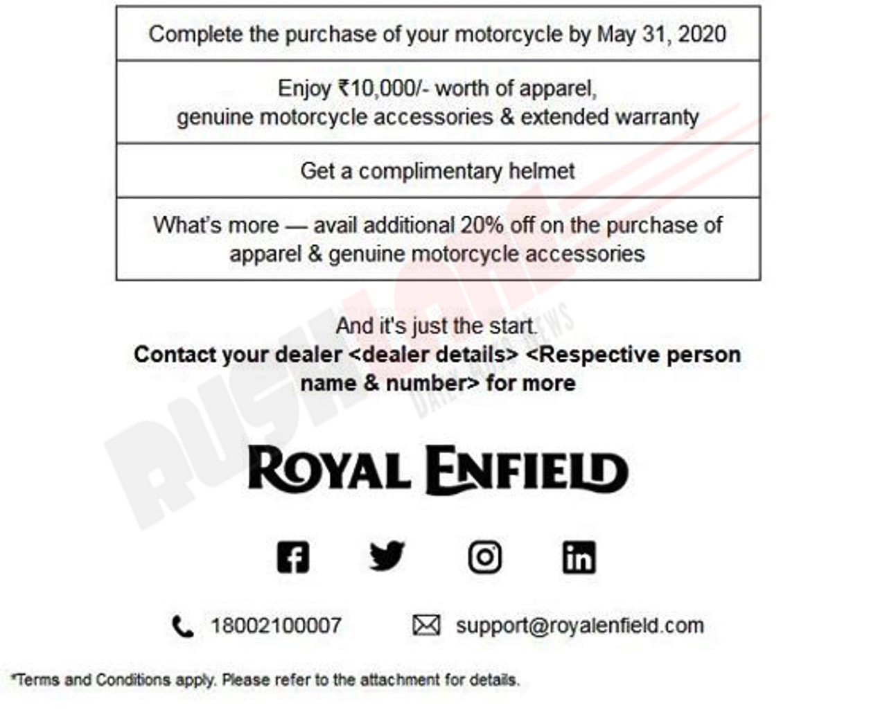 Royal Enfield Free accessories offer