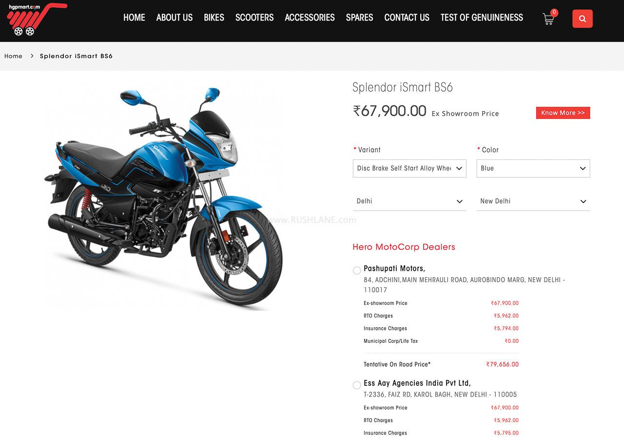 Hero Splendor online sales