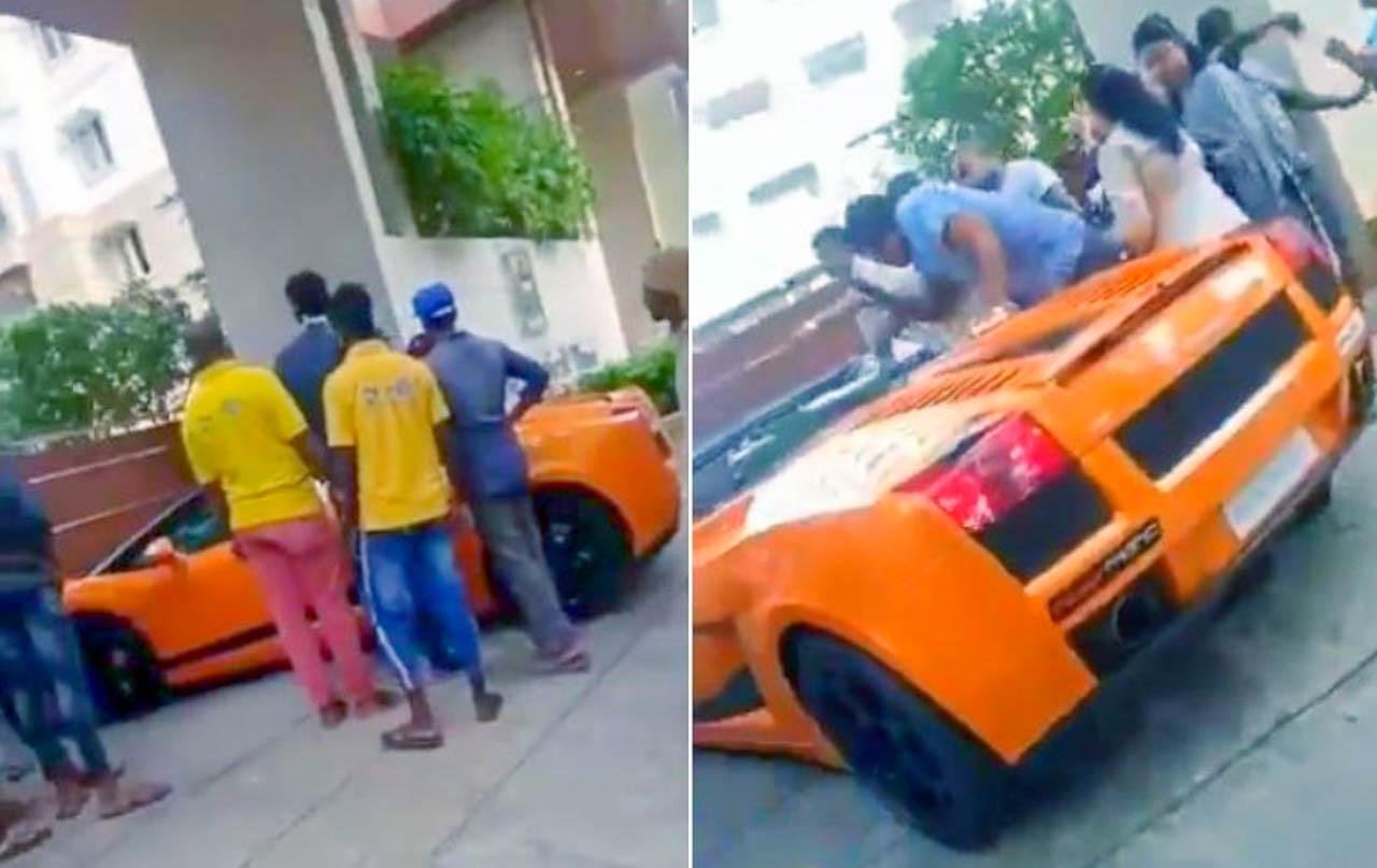 Lamborghini driver beaten