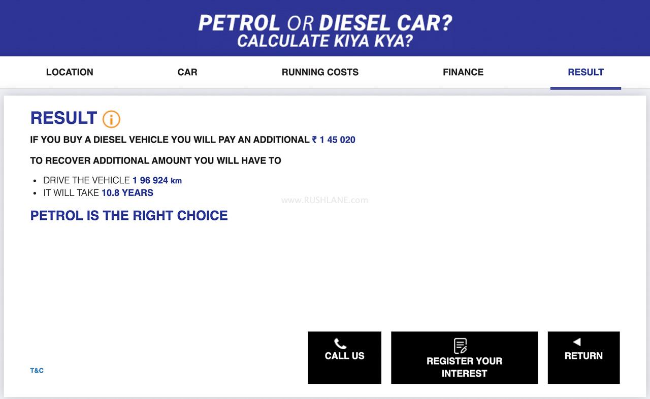 Maruti Petrol diesel calculator