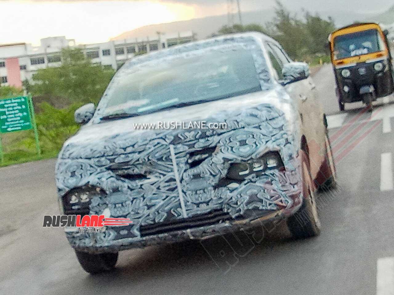 Renault Kiger sub 4m SUV spied testing on Mumbai Pune old highway
