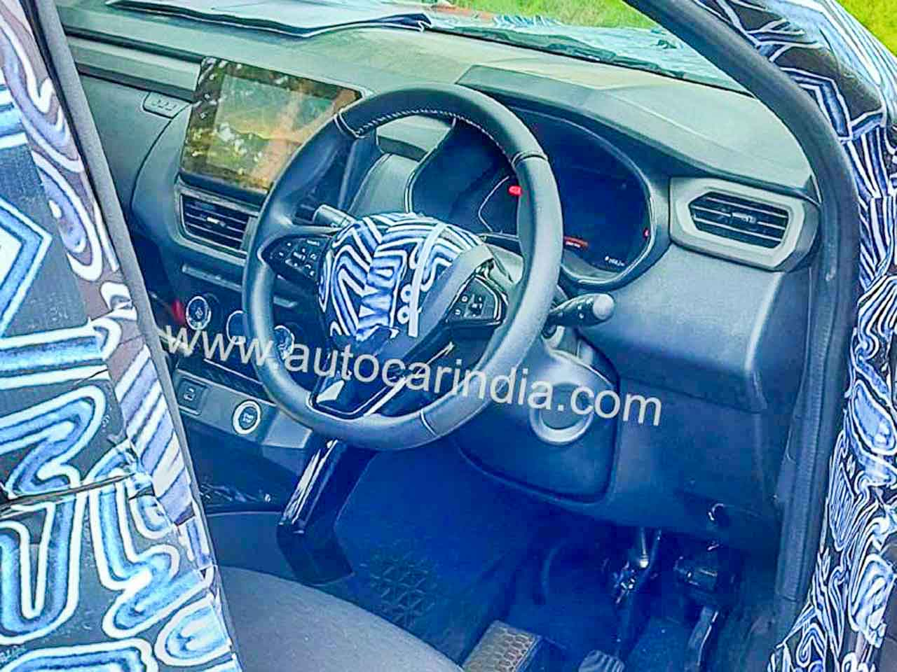 Renault Kiger small SUV dashboard spied – Gets touchscreen, button start