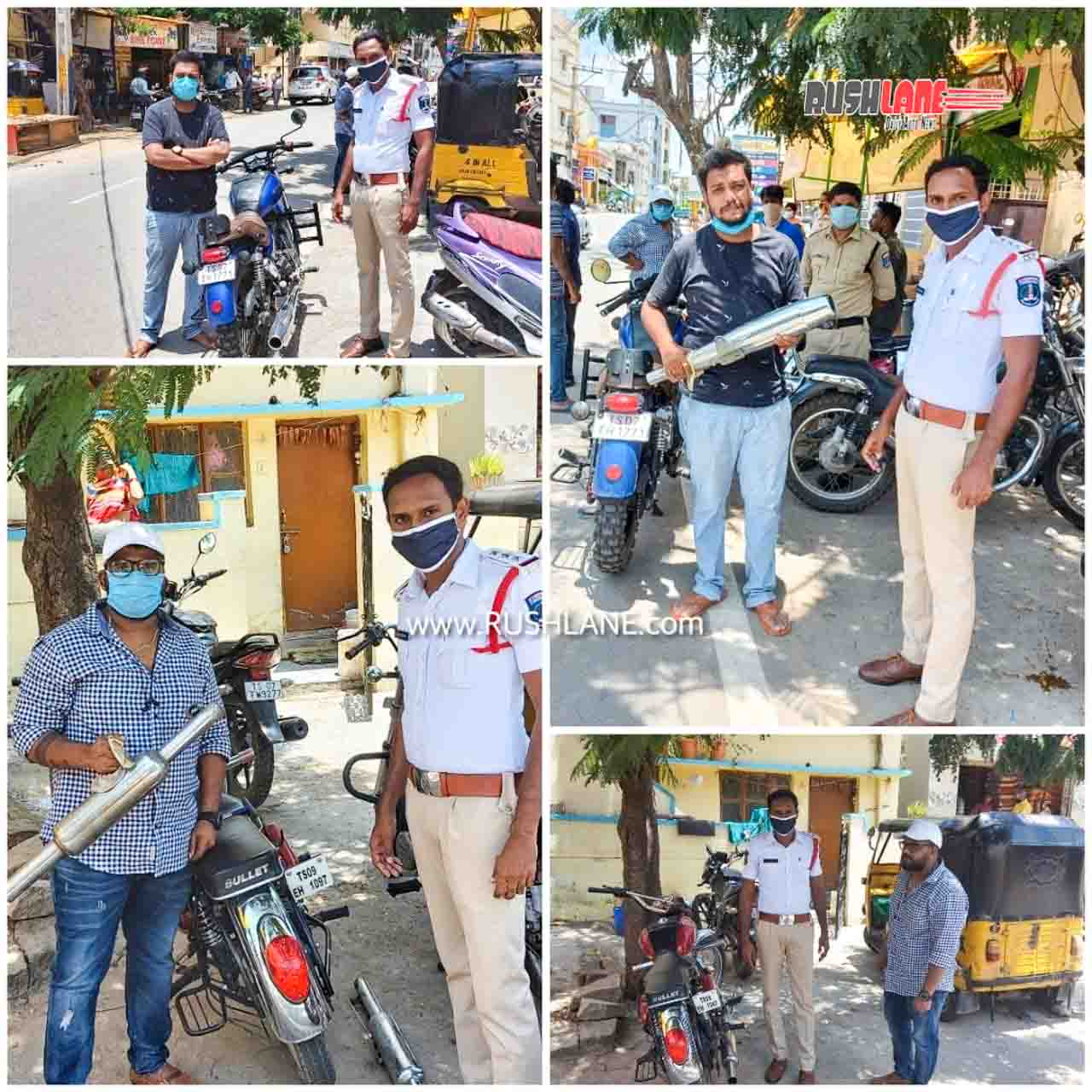 Royal Enfield motorcycles with loud exhausts get fined by Traffic Police