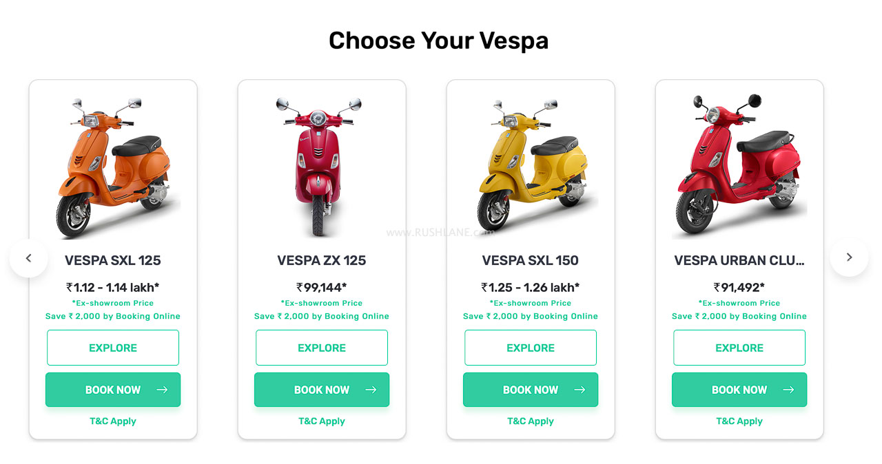 Vespa online website sales