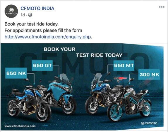 CFMoto test ride registrations