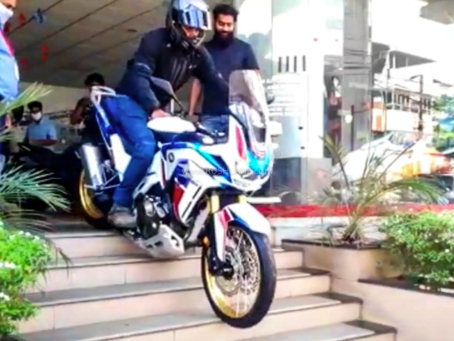 2020 Honda Africa Twin owner riding his new bike out of showroom