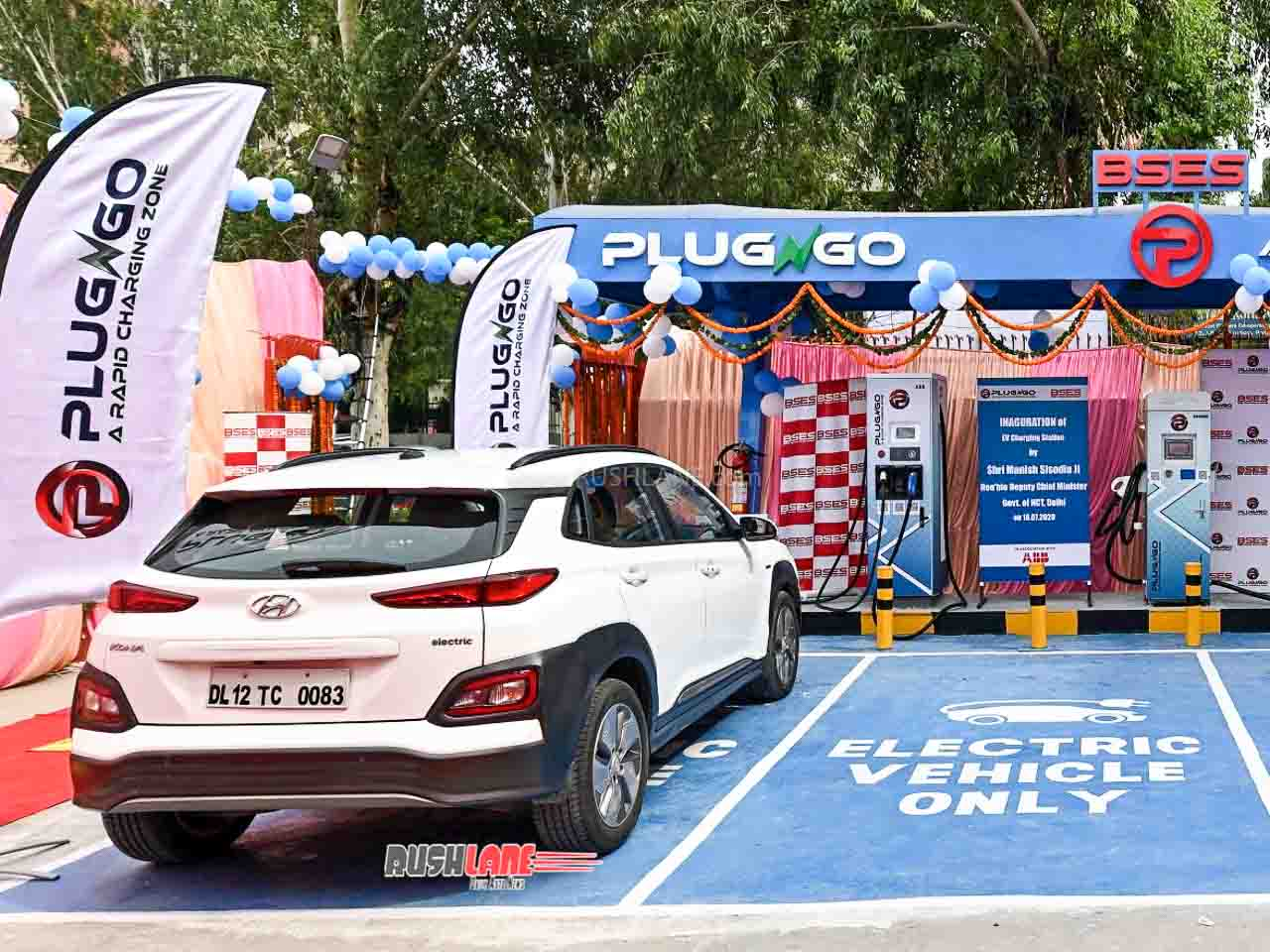 Hyundai Kona getting charged at the PlugNgo electric car charging station in Delhi