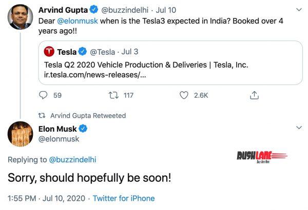 Tesla Model 3 India launch plans