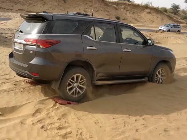 Driving through desert