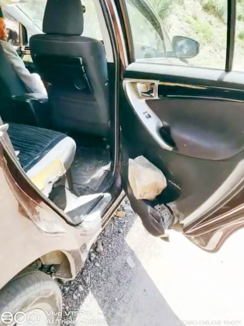 The rock which broke Toyota Innova roof