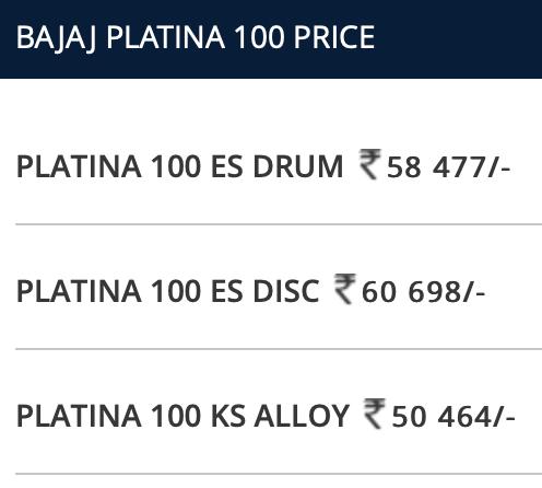Bajaj Platina BS6 price and variants