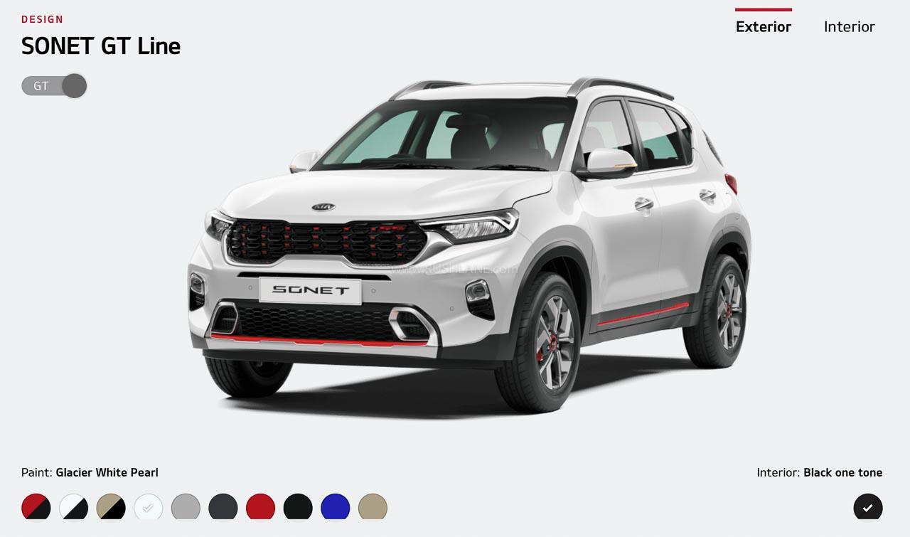 Kia Sonet Colours Tech Gt Line Revealed On Website Total 20 Options