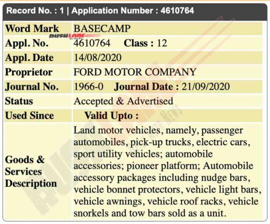 Ford Basecamp registered in India